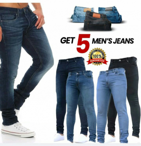 Pack of 5 Stretchable Narrow Denim Jeans For Men