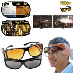 Pack of 2 - HD Night Vision Driving Sunglasses & Yellow Lens Over Wrap For Clear view