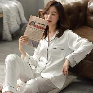 Beautiful Silk Night Suit (Trouser Shirt) For Girls & Women 130