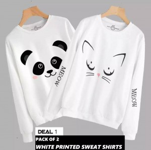 Panda & Cat  (Printed) Warm Sweatshirt For Couple (Pack Of Two)