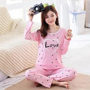 Beautiful Pink Love Night Suit (Trouser Shirt) For Girls & Women TS-06