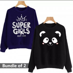 Panda & Super Girls (Printed) Warm Sweatshirt For Couple (Pack Of Two)