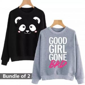 Panda & Good Girl Gone Bad (Printed) Warm Sweatshirt For Couple (Pack Of Two)