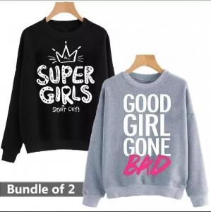 Super Girls & Good Girl Gone Bad (Printed) Warm Sweatshirt For Girls (Pack Of Two)