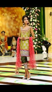 Embroidered Chiffon Dress with Jamawar Trouser