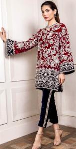 2 Pieces Unstitched Embroidered Chiffon Kurti
