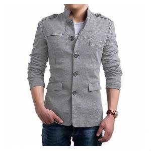 Grey Stylish Fleece Coat For Men