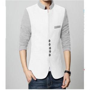 White & Grey Fleece Contrasts Coat For Men
