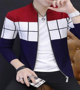 Multicolour Fleece Jacket for Men