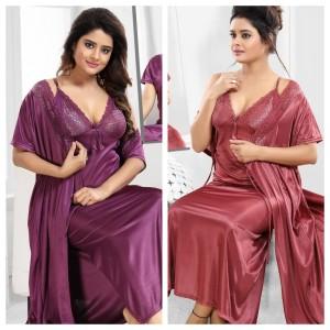 Precious Beautiful Bridal Nightwear With Gown (1011)_1597040203